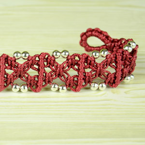 X Patterned Square Knot Bracelet