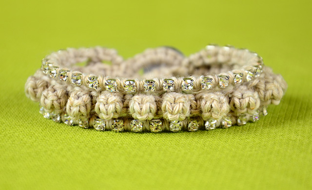 Bumps Bracelet with Crystal Chain