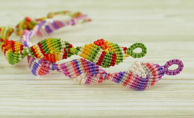 Macrame Diamond Leaf Bracelet Tutorial