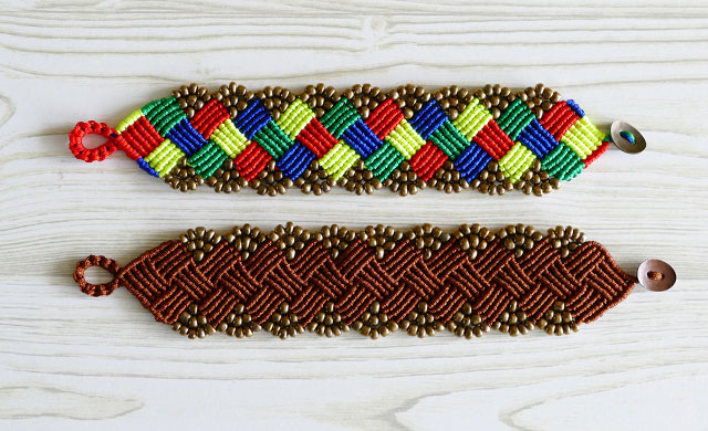 Beaded Macramé Square Bracelet