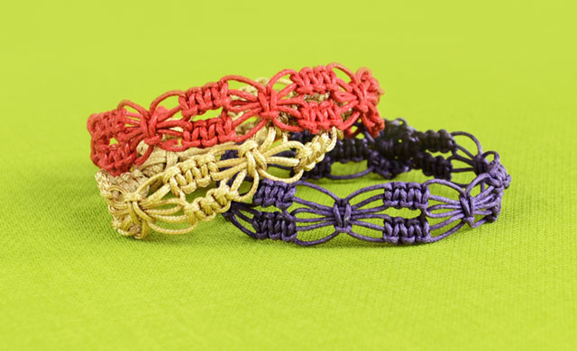 Easy Square Knot Flower Bracelets